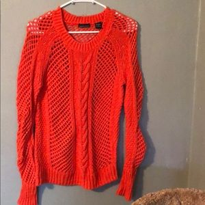 Loose cable knit crew neck sweater